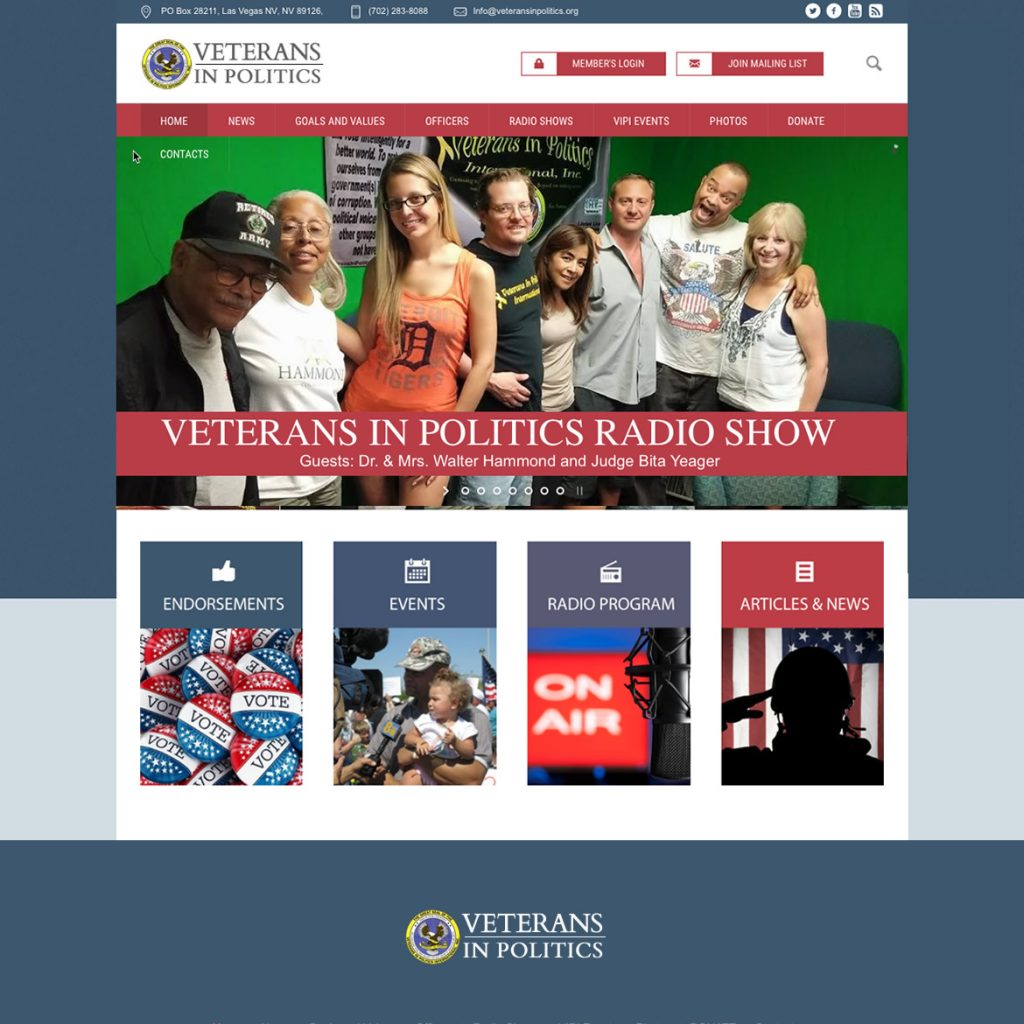 Website for Veterans Political Organization Veterans in Politics