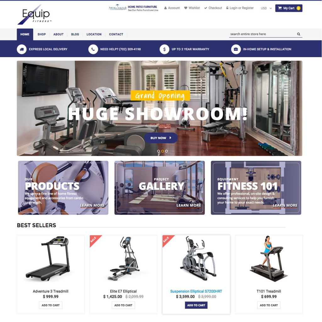 Custom Shopify Ecommerce Website EquipFitness