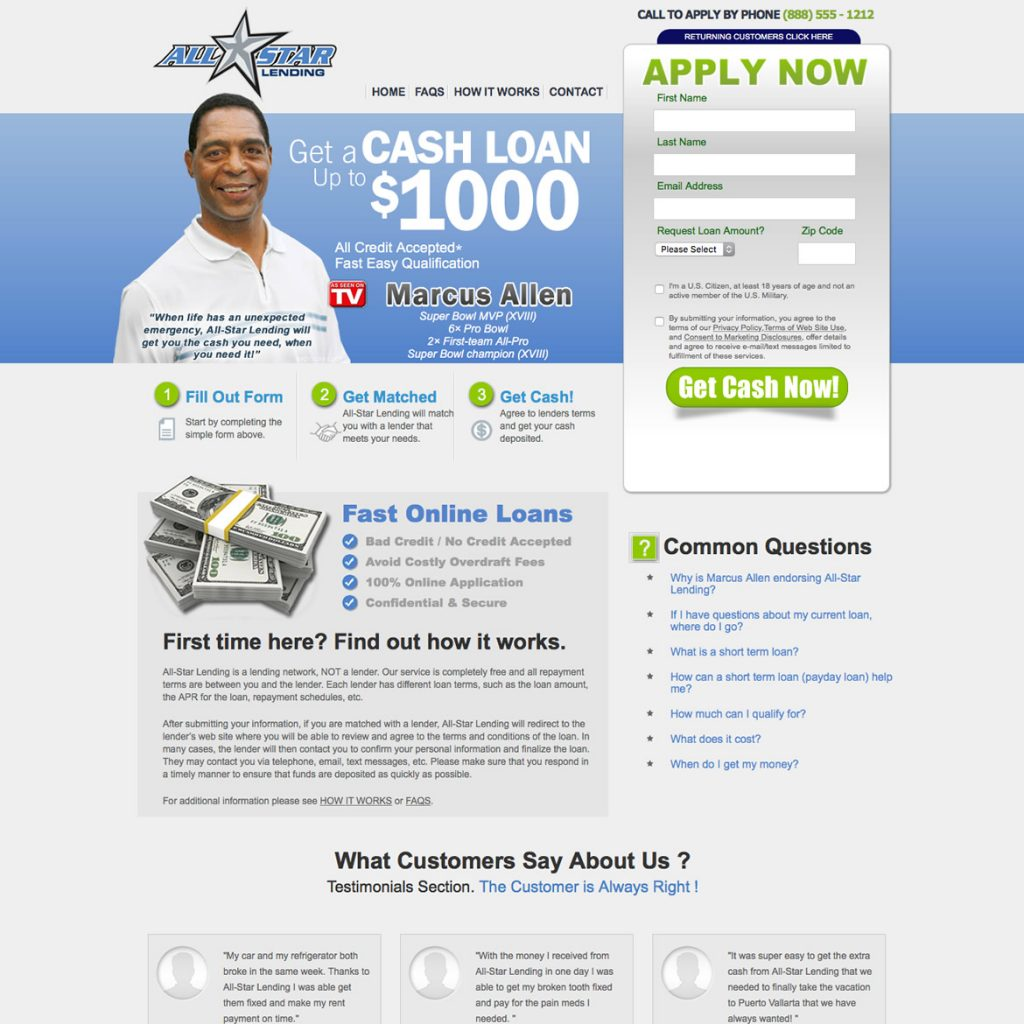 Website design for Pay Day Loan