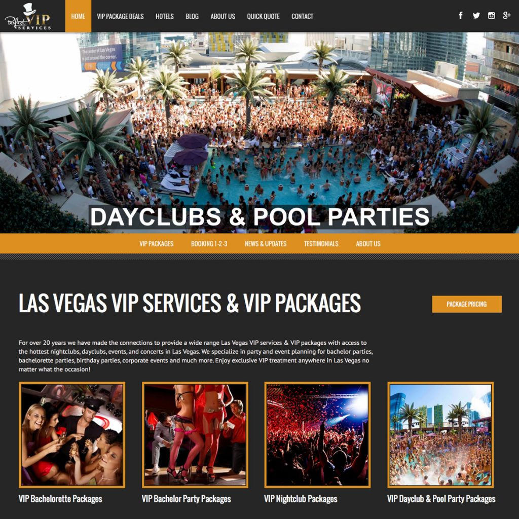 Website for Event Promoter Party Planner Conceirge Services