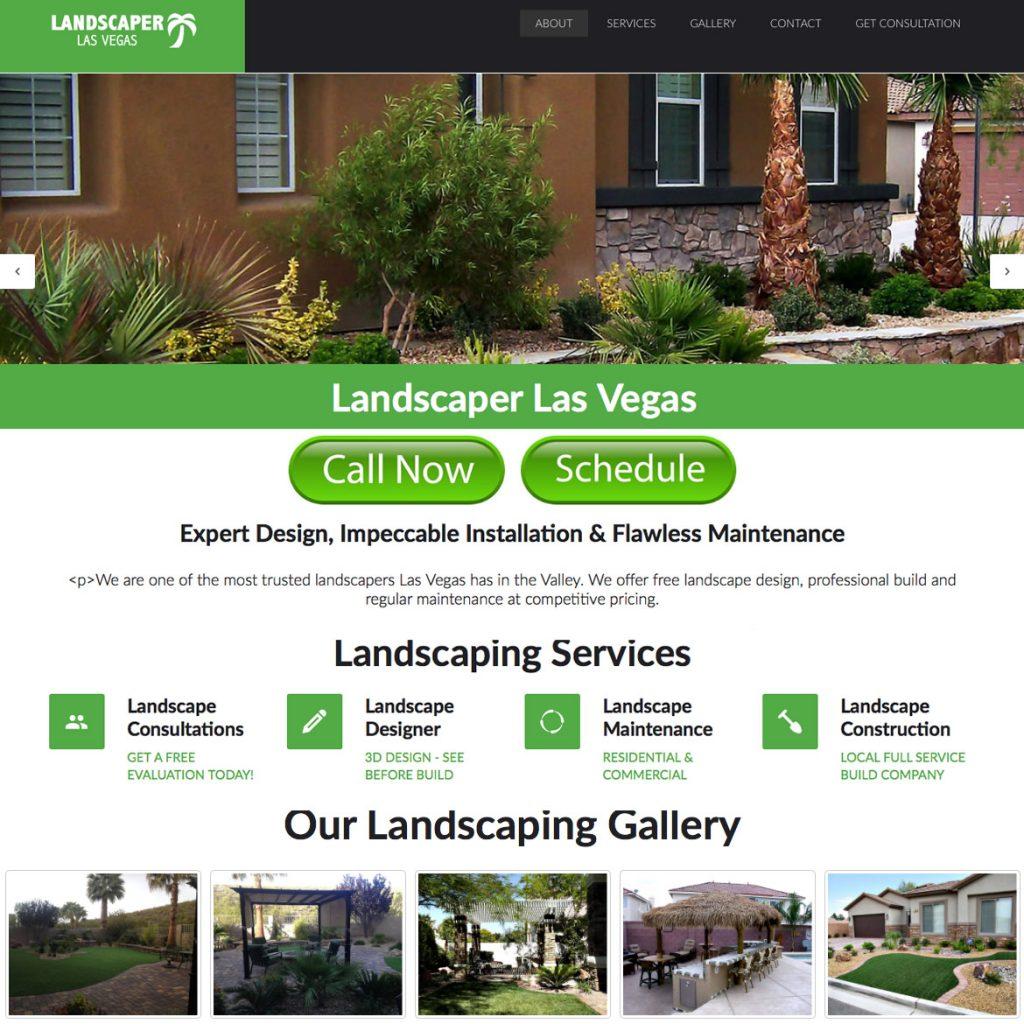 Landing page design for landscaper