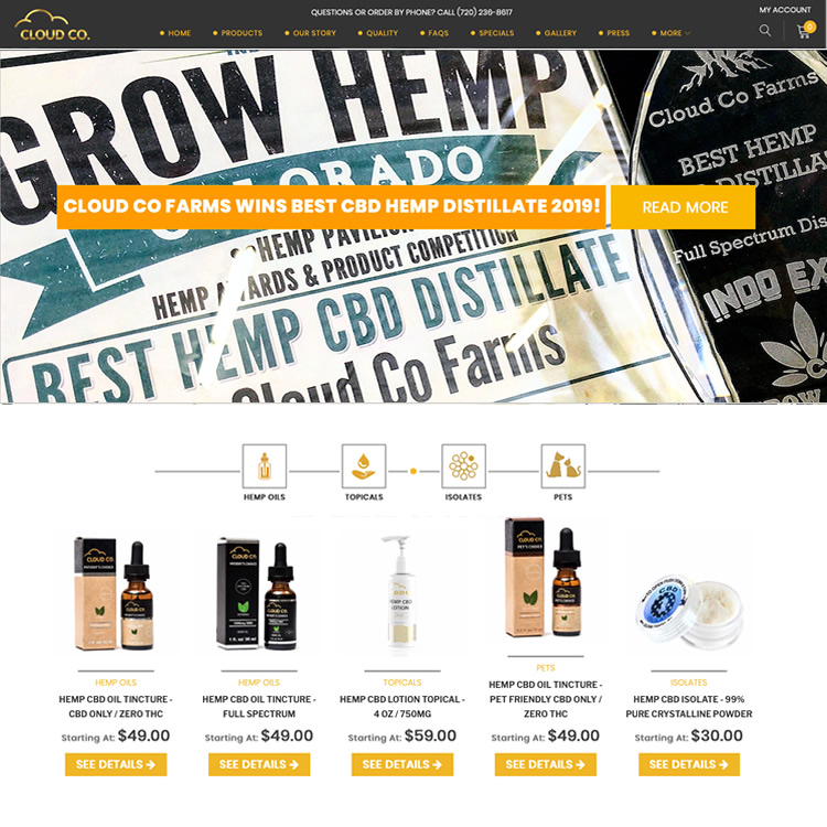 Ecommerce website CBD Cloud Co Farms
