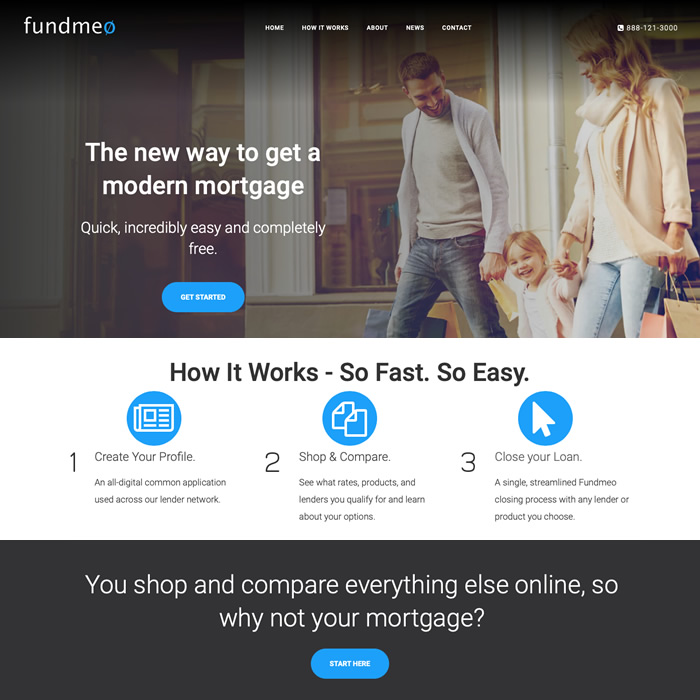 Website for mortgage company