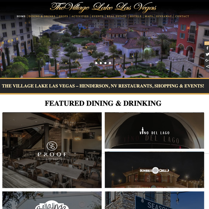 Website for vacation event destination Lake Las Vegas